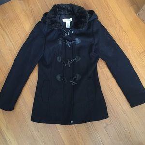 H&M Navy Blue Fur Collar Toggle Peacoat Jacket